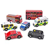 Le Toy Van Iconic Wooden London Themed Play Vehicle Set 7 Pieces Including Bus Ambulance Police Fire Engine Taxi Sports Classic Car