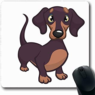 Ahawoso Mousepads for Computers Clip Brown Dog Cute Purebred Dachshund Wildlife Doggy Weiner Daschund Sausage Puppy Chihuahua Design Oblong Shape 7.9 x 9.5 Inches Non-Slip Oblong Gaming Mouse Pad