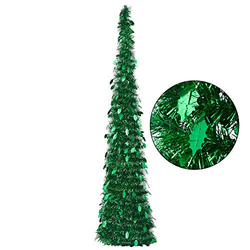 CCINEE 5FT Christmas Tinsel Tree Foldable Stand Easy-Assembly Green Tinsel Xmas Tree for Holiday Party Home Office Store Classroon Decoration