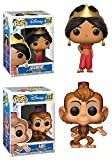 Funko POP! Aladdin: Jasmine (Red Dress) + Abu – Disney Stylized Vinyl Figure Set NEW...