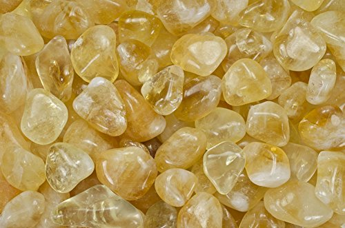 "Fantasia Materials: 1 lb Tumbled Citrine AAA Grade Stones from Brazil - Large 1"" Bulk Natural Polished Gemstone Supplies for Crafts, Reiki, Wicca and Energy Crystal HealingWholesale Lot"
