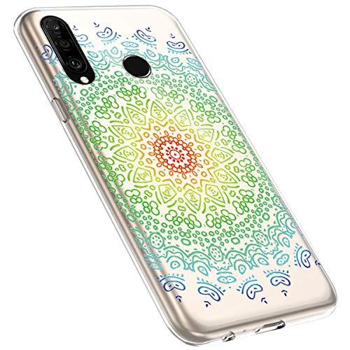 MoreChioce kompatibel mit Huawei P30 Lite Hülle,Vintage Campanula Muster Transparent Kratzfest TPU Weiche Silikon Handyhülle Flexible Gel Silikonhülle Schutzhülle Protective Bumper,Mandala #2