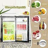 COSTWAY Kühlschrank mit Gefrierfach Standkühlschrank Gefrierschrank Kühl-Gefrier-Kombination / 91L / Schwarz - 5