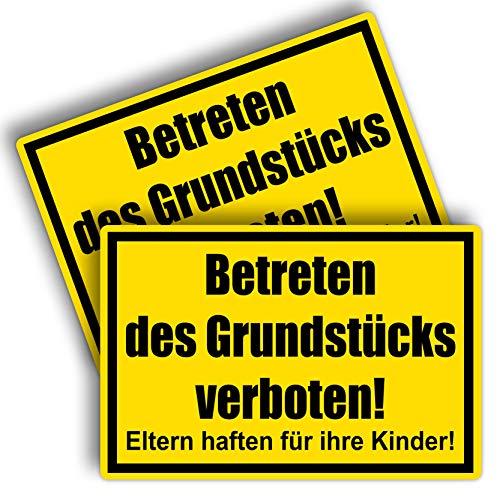 2 Stück Privatgrundstück Unbefugten ist das Betreten und Befahren verboten Schild 20 x 30 cm aus Stabiler PVC Hartschaumplatte 3mm Eltern haften für ihre Kinder mit UV-Schutz von STROBO