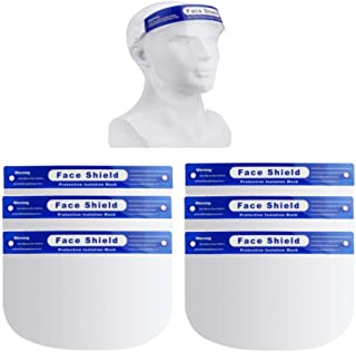6 Pack Safety Face Shield, All-Round Protection Headband with Clear Anti-Fog Lens, Lightweight Transparent Shield with Stretchy Elastic Band