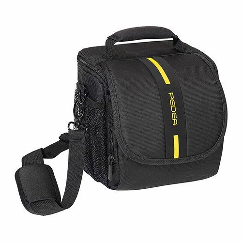 PEDEA DSLR-Kameratasche Essex Fototasche für Spiegelreflexkameras mit wasserdichtem Regenschutz, Tragegurt und Zubehörfächern, Gr. M schwarz/gelb