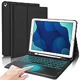 DINGRICH Teclado Touchpad Español Ñ para iPad 10.2/iPad 8 Generacion 2020, Funda con Teclado Trackpad Bluetooth Extraíble Recargable 7 Color Retroiluminada para iPad 8/7 Gen/Pro 10.5/Air 3 Negro