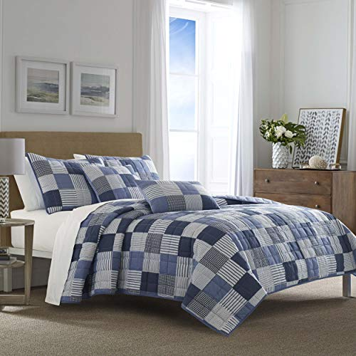 Nautica | Holly Grove Collection | 100% Cotton Light-Weight Reversible Quilt Bedspread Matching Shams, 3-Piece Bedding Set, Pre-Washed for Softness, Full/Queen, Blue