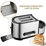 Aicok Toaster, 3 in 1 praktischer Automatik Toaster mit Eierkocher und elektrischee Pfannen, (1250 Watt, bis zu 7 Bräunungsstufen und 2 Brotscheiben, gebürsteter Edelstahl) - 4