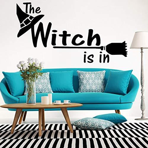 Sombrero de bruja escoba pegatina de pared bar o sala de estar y papel tapiz de la cama fondo de la habitación arte mural pegatina decoración del hogar A6 30x55cm