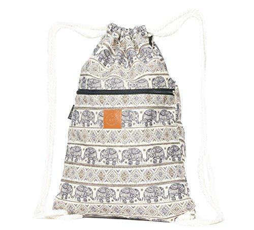 T-BAGS Thailand Baumwoll Turnbeutel Hipster - mit Reißverschluss - 24 Designs – Hochwertiger Beutel, Rucksack, Gym-Bag mit verstellbaren Kordeln (Elefant Dunkelblau)