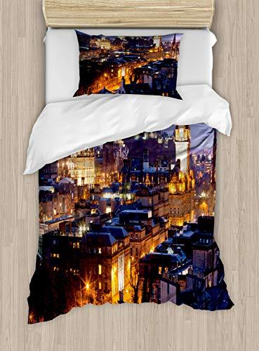 ABAKUHAUS Schotland Dekbedovertrekset, Edinburgh Skylines bij Schemer, Decoratieve 2-delige Bedset met 1 siersloop, 130 cm x 200 cm, Veelkleurig