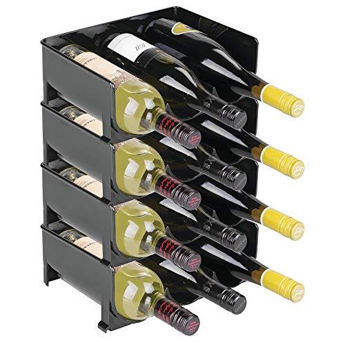 mDesign Flaschenregal – stapelbare Aufbewahrung für Wasserflaschen bzw. Trinkflaschen – ideal als Weinflaschenregal bzw. Weinflaschenhalter – für je 3 Flaschen – 4er Pack, schwarz