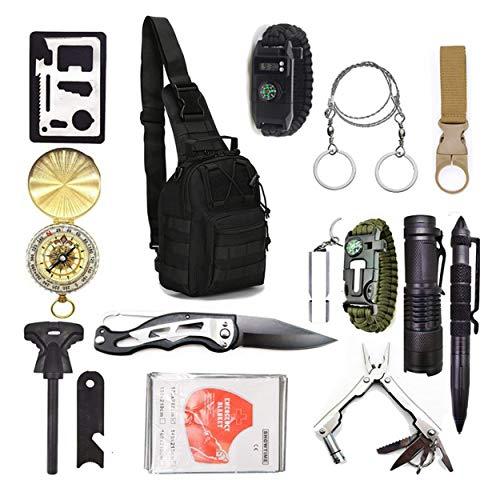 2021 Survival Kit 15in1 Erste-Hilfe-Kit taktischer Rucksack Messer Paracord-Uhr Säge taktischer Stift Taktische Taschenlampe Kompass Wärmedecke und anderes ZS-8 für Urlaub Camping Jagd