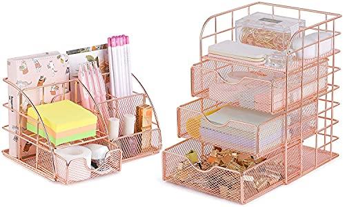 POPRUN Schreibtisch Organizer set mit Schubladen und Stiftehalter aus Metall Netz,Utensilienschalen,Tisch Organizer für Büro,Schule und Zuhause, 2 Stück Rose Gold