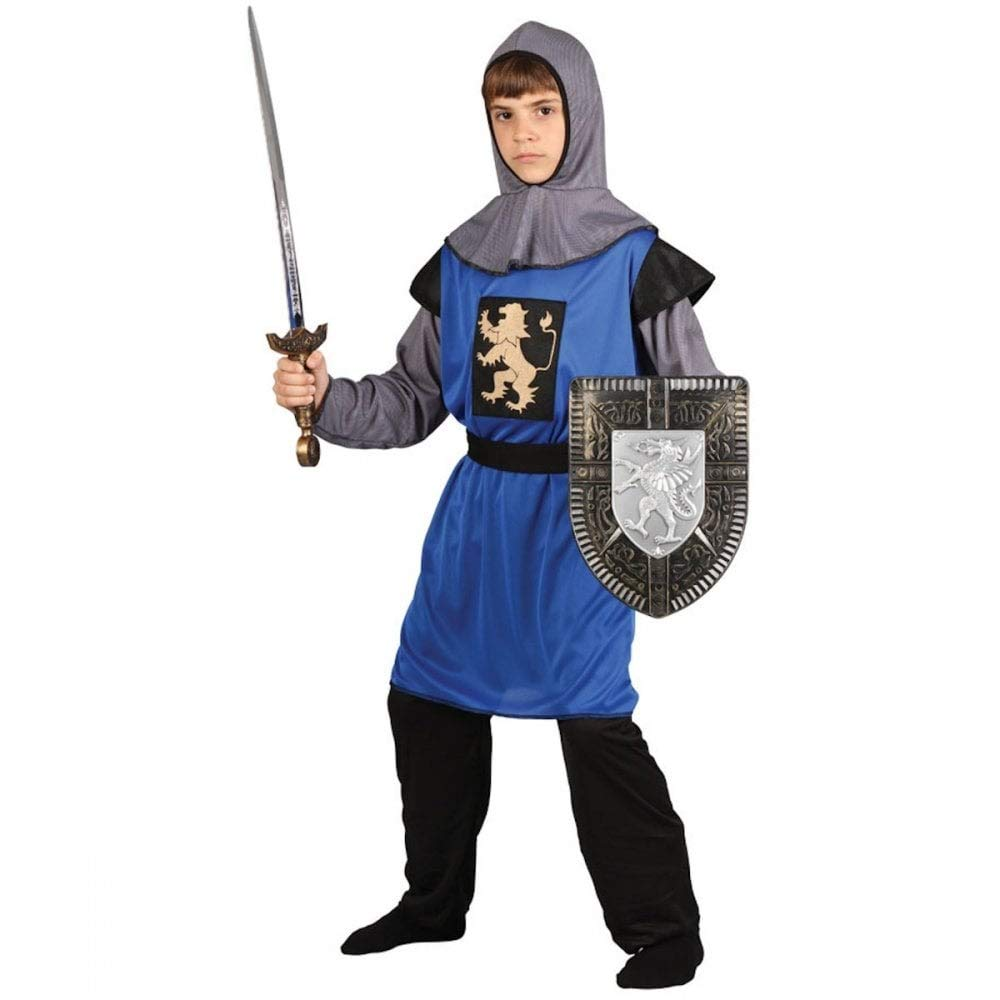 Kids Medieval Silver Crusader Knight Boys Book Week Fancy Dress Costume Outfit
