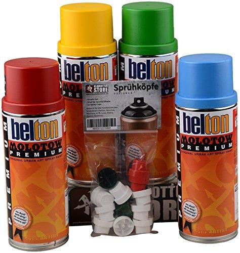 Molotow PREMIUM Sprühdosen Grundfarben Set inkl. Cap Pack Designer