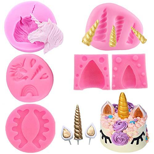 Einhorn Fondant Schokoladenform Set Kuchen Topper Dekorieren Silikon Form mit Horn, Ohren und Augen für Geburtstag, Baby Dusche, Hochzeit und Party (6PCS/Set)