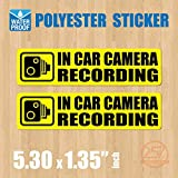 (Pack of 2 pcs) in Car Camera Recording Sticker Dash Cam on Board Video Label Bumper Baby Safe Decal [Yellow]