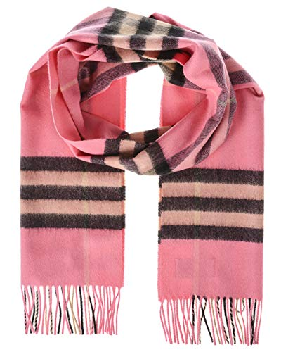 Burberry Classic Cashmere Scarf in Check - Bright Rose