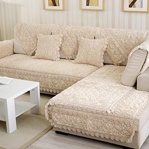 HXTSWGS Funda de sofá de Felpa Gruesa Fundas de Toalla Sofás con Fundas de sofá de Esquina Chaise Longue para Sala de Estar Antideslizante-Beige_W70xL70cm