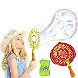 KreativeKraft Pomperos para Niños, Kit para Crear Pompas de Jabon Enormes, Incluye Bote Liquido Pompas de Jabon, Juegos de Agua para Jardin, Regalos Originales para Niños 3+ (Amarillo)