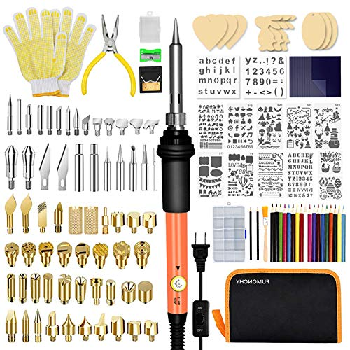 FUMONCHY Wood Burning Kit 126Pcs, Wood Burning Tool with Soldering Iron Tips, Wood Burner Temperature Adjustable with On-Off Switch, Pyrography Pen with Wood Burning Stencils for Embossing Carving