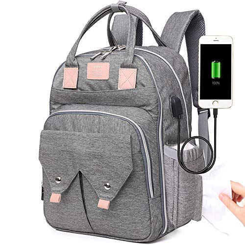Changing Bag with USB Port, Large Capacity Baby Nappy Backpack Bag Grey with Insulated Thermal Pockets, Waterproof Diaper Rucksack for Mum, Dad, for Baby Care, Maternity, Travel