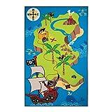 Flair Rugs Matrix Kiddy - Kinderteppich/Spielteppich für Das Kinderzimmer - Motiv Piraten/Schatzkarte - Blau 100 x 160cm