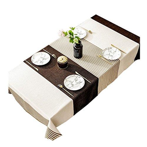 Nappe Stripe, Creative Tissu Art Décoration Usine Impression Salon Fleurs Restaurant Lattice Nappe 60-240 CM (Couleur : Marron, taille : 130 * 200CM)