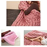 Chunky Wool Blanket Hat Blanket Crochet Arm Kniting Bed Throw Giant Yarn Super Bulky Knitted plaid Knit Thick Anniversary Housewarming Gift (23 x 47 inches - Ikea Size Bed Blanket, pink)