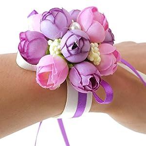 Silk Flower Arrangements Wrist Flower, Wrist Corsage Hand Flowers Decor for Wedding Bridal Prom Party Accessories PS05 (Purple Wrist Flower)