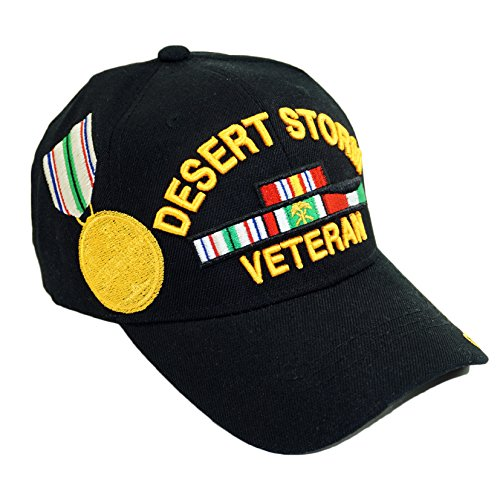 U.S. Military Official Licensed Embroidery Hat Army Navy Veteran Baseball Cap (Desert Storm Veteran Style 01-Black)