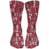 MATH DOODLE RED Casual Crew Socks For Women & Men