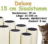 Kratzbaumland 15 cm Deluxe-Sisalstamm mit 8 mm Sisalseil (Länge: 12-100 cm; Gewinde:...