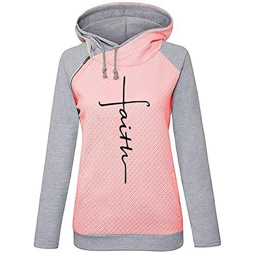 ShSnnwrl Moda damska bluza z kapturem sweter sweter bluza patchwork bluzy bluzy damskie haftowane krzyżowo bluzy z długim rękawem damskie ciepłe pulower topy XL różowe