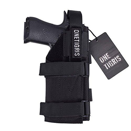 OneTigris - Fondina sistema tattico M.O.L.L.E., da cintura, in nylon 1000D, per pistola, Schwarz ohne Magazintasche, Größe: 19 * 9,5cm