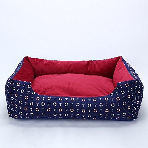 Pet Online Hund Kissen abnehmbar und waschbar Leinwand kennel Unterseite wasserdicht Buffalo Tuch komfortablen großen und kleinen Hund Haustier Nest, XL: 70 * 50 * 20 cm, blau
