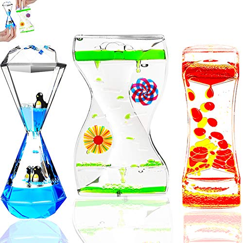 TKTM 3 Types Liquid Motion Bubbler Liquid Timers for Kids Sensory Fidget Toys Small Calming Toy...