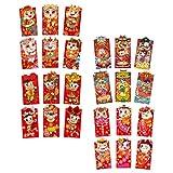 ABOOFAN Sobres chinos rojos de año nuevo – 24 paquetes rojos chinos, buey lunar año nuevo 2021 paquetes de dinero de la suerte Hong Bao para Año Nuevo, regalos de boda, Navidad