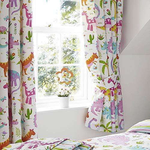 Happy Linen Company Set de Cortinas Infantiles de galón Fruncido - Estampado de Dinosaurios Rosas sobre Blanco - Blanco - 168 x 183 cm