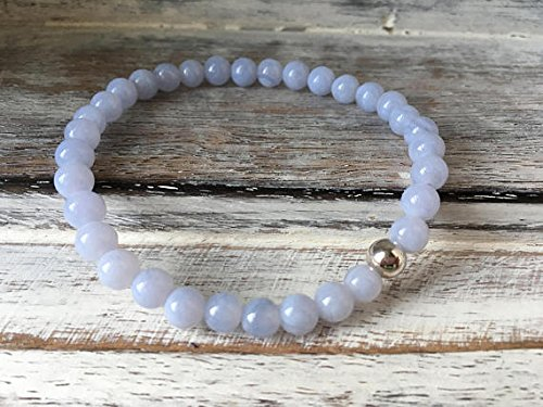 LOVEKUSH Blush Jewelry 6mm Stretchable Blue Blue Lace Agate Bracelet Round, Smooth 7' for Mens, Womens, gf, bf & Adult.