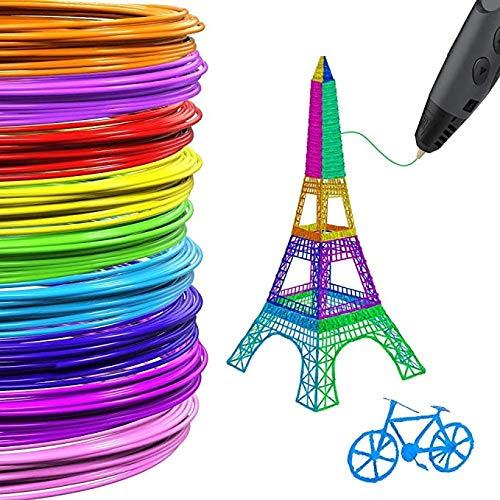 3D Stift Filament PLA, 3D Stift Filament 10M, PLA Filament 1.75mm, 3D Druck Filament Paket mit 20 unterschiedlichen Farben für 3D Stift, 3D Stift Farben Set für Kinder