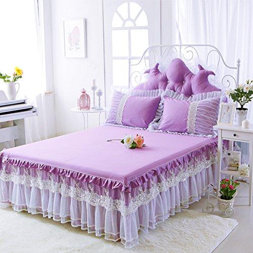 HAOLY Princesse Broderie Paillettes Dentelle Robe de Chambre,Coton Feuilles Couverture de Couvre-lit,pour Chambre Hôtel-Violet 150x200cm(59x79inch)