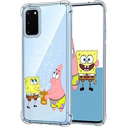 Lupct for Samsung S20 Plus Case, Soft TPU Cartoon Cute Mobile Phone Spongebob&Patrick Fashion Design Girls Boys Cover Skin Slim Funny Fun Ultra-thin Bumper Clear Shell for Samsung Galaxy S20 Plus S20+