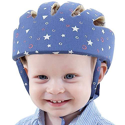 IULONEE Baby Helm Kleinkind Schutzhut Kleinkind Kopfschutz Baumwolle Hut Kleinkind Verstellbarer Schutzhelm (Sternenblau)