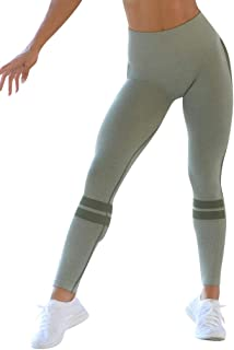 FONMA Women Seamless Solid Yoga Sports Tight Pants Hips High Waist Thread Yoga Pants