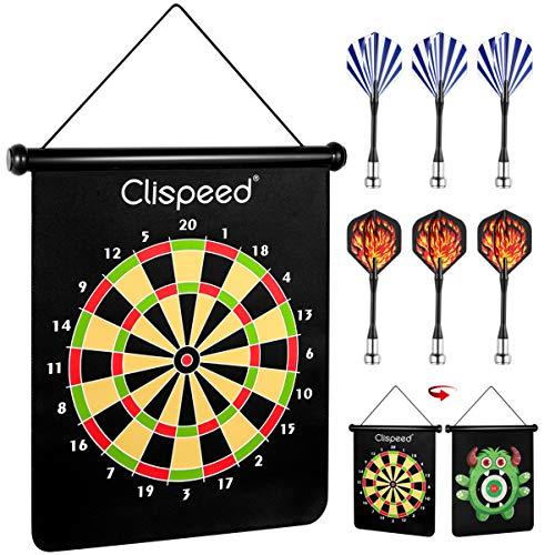 CLISPEED Magnetisches Dartboard Dartspielset Wendbare Rollup Dartscheibe mit 6 Sicheren Darts für Indoor Outdoor-Spaß