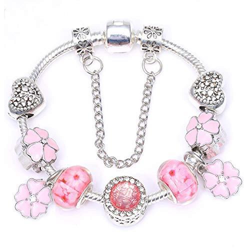 Pulseras de encanto con flor de cristal rosa colgantes DIY pulsera fina para mujeres niña joyería regalo C01 17cm
