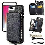 ZVE iPhone 7Plus/8Plus 財布型ケース 札&カード入れ ショルダーケース ファスナー付きポケット ショルダーチェーン&バンドストラップ付き スタンド機能 高級PUレザー スマホケース 耐汚れ 全面保護 アイフォン7Plus/8Plus 5.5インチ(ブラック)